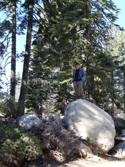 Barry on a boulder at Silver Lake Campground, September 2016