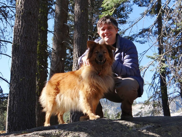 Barry and Boston on a boulder at Silver Lake Campground, September 2016
