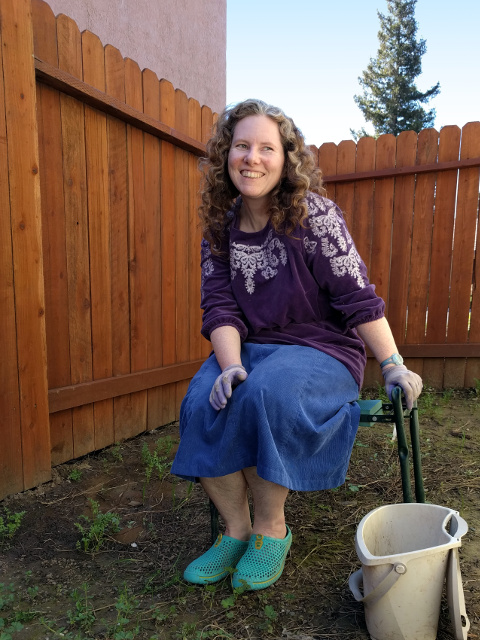 me weeding at Barry's house, March 2017