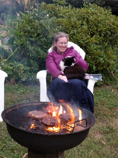 me with cat and barbecue