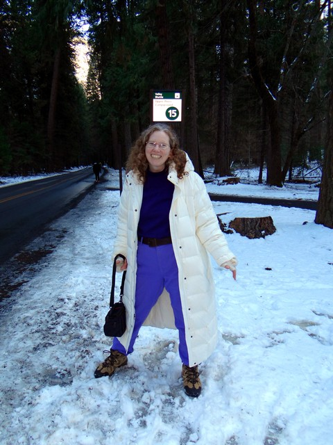 me at a shuttle stop near Upper Pines Campground, February 25, 2018
