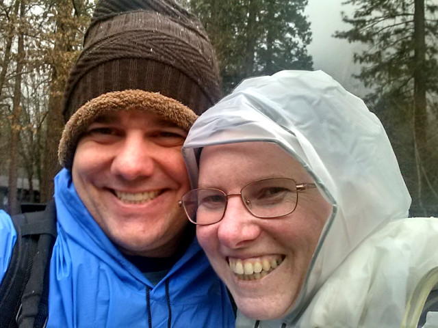 Barry and me at a shuttle stop outside Yosemite Lodge, February 26, 2018