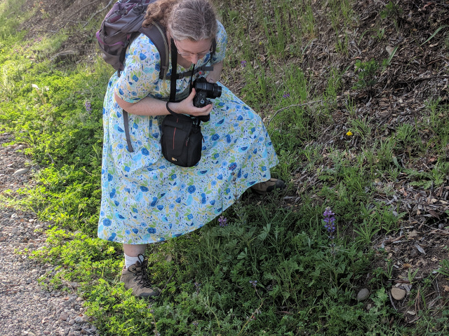 me photographing flowers near Pierce Canyon Falls, April 2018