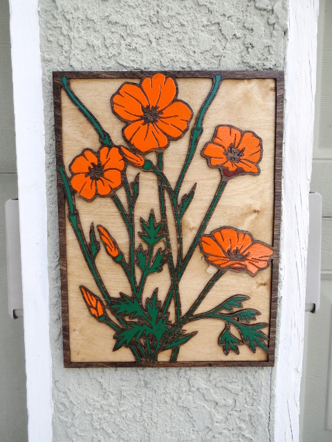 California poppy art lasercut by Barry