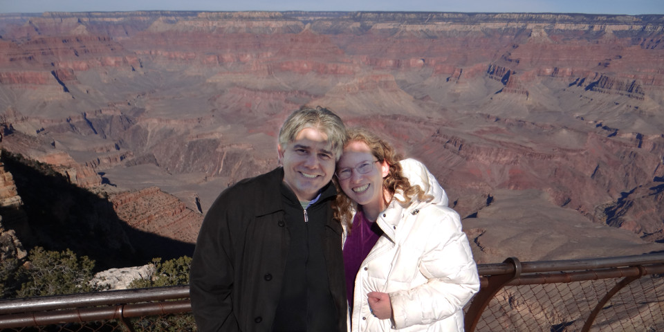 my handsome fiance and me at the Grand Canyon