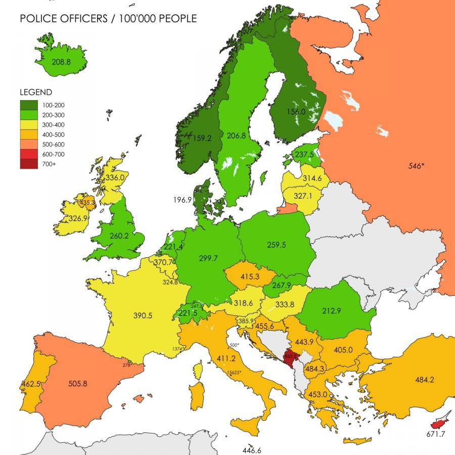 количество полицейских в странах европы