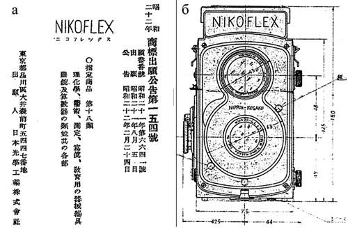 Регистрационное свидетельство торговой марки Nikoflex (5.08.1946) и  эскиз прототипа TLR Nikoflex, который был показан комиссии «Camera and Projector Committee»              25 июля 1947г.