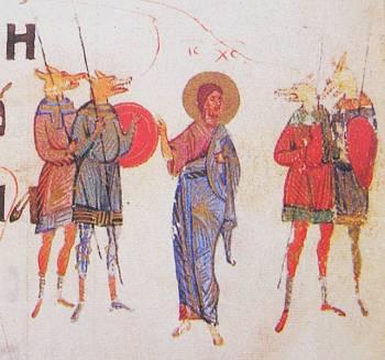 Рис.22  Иисус Христос среди Псеглавцев. Киевская псалтырь , XIV век