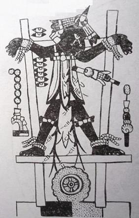 Рис.29  Распятие «Псеглавца» в художественном представлении мексиканских индейцев Кодекс Нутталь