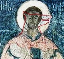Рис.17 Фреска Спасо-Преображенского собора, г. Ярославль (увеличен фрагмент Рис.16, через новую реставрационную краску просвечивает старая песья голова)