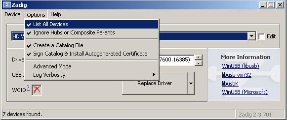 Установка драйверов и программы управления SDR приёмником
