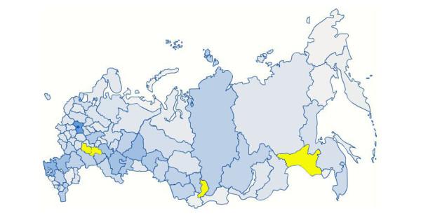 карта России с 4 регионами