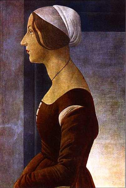 9-Сандро Боттичелли (1445–1510) Портрет молодой женщины. Около 1485.jpg