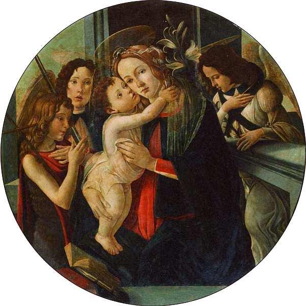 10-Сандро Боттичелли (1445–1510) Мадонна с Младенцем, святым Иоанном Крестителем и архангелами. После 1485.jpg