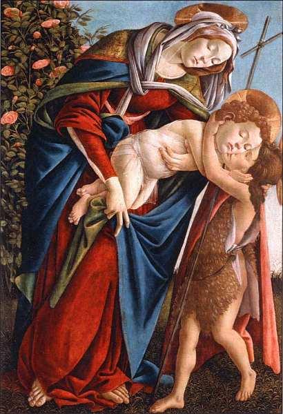 11-Сандро Боттичелли (1445–1510) Мадонна с Младенцем и маленьким Иоанном Крестителем. Около 1495.jpg