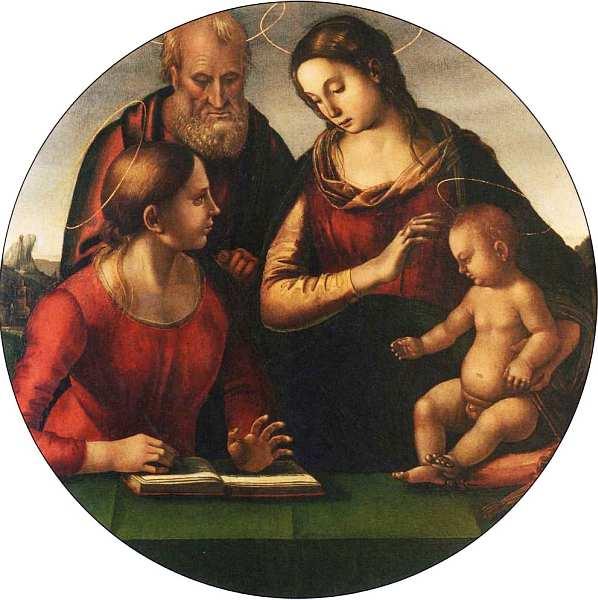 14-Лука Синьорелли (1445–1523) Святое семейство со святой Екатериной Александрийской. Около 1490–1495.jpg