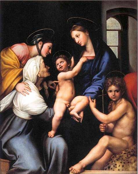 23-Рафаэль Санти (1483–1520) Мадонна с Младенцем и святыми (Мадонна с окном). Около 1513–1514.jpg