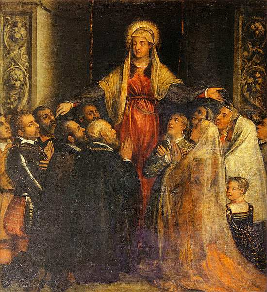 35-Тициан Вечеллио и помощники (около 1488–1576) Мадонна Мизерикордия (Мадонна милосердия) 1573.jpg