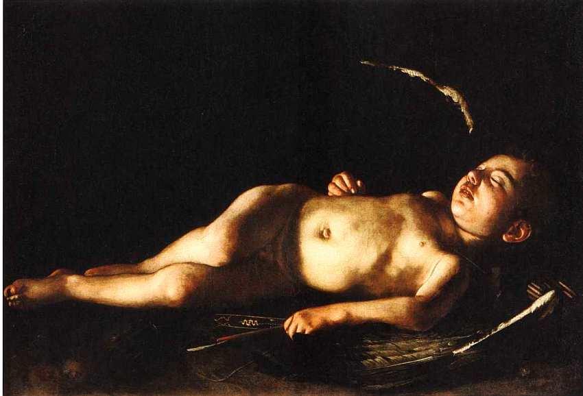 46-Микеланджело Меризи да Караваджо (1571–1610) Спящий Амур 1608.jpg