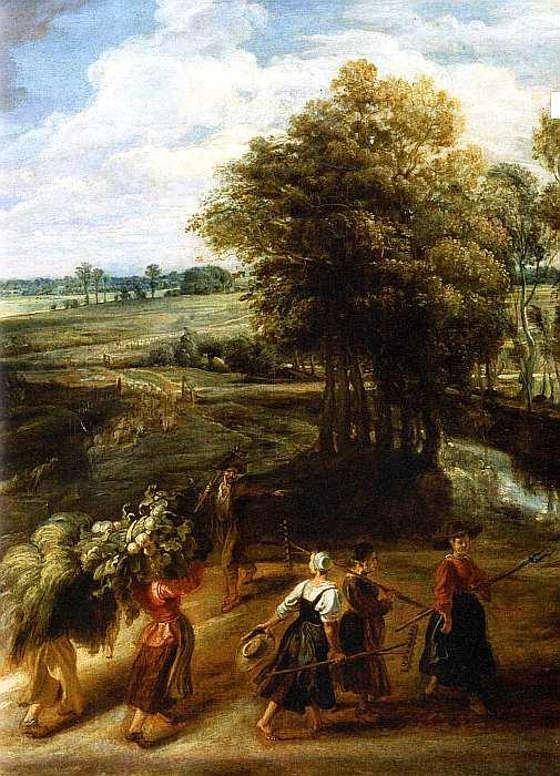 57-Питер Пауль Рубенс (1577–1640) Возвращение крестьян с поля. Около 1635 (фрагмент).jpg