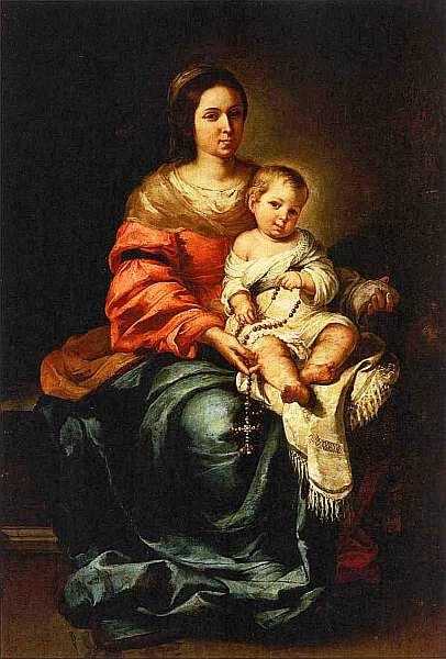 70-Бартоломе Эстебан Мурильо (1617–1682) Дева Мария с Младенцем. Около 1650.jpg