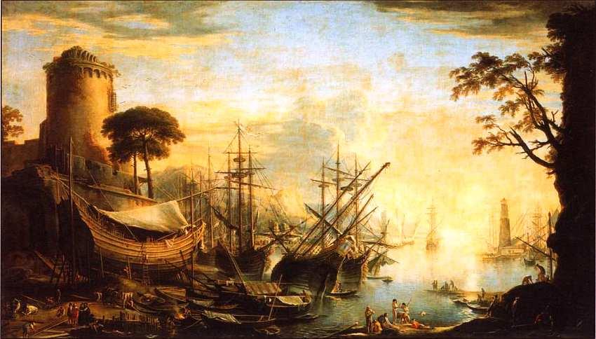 72-Сальватор Роза (1615–1673) Морской порт на закате. Около 1641–1642.jpg