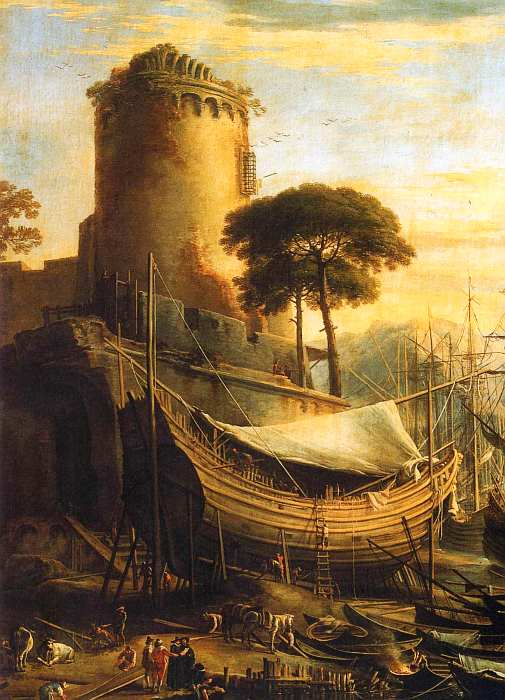 73-Сальватор Роза (1615–1673) Морской порт на закате. Около 1641–1642 (фрагмент).jpg