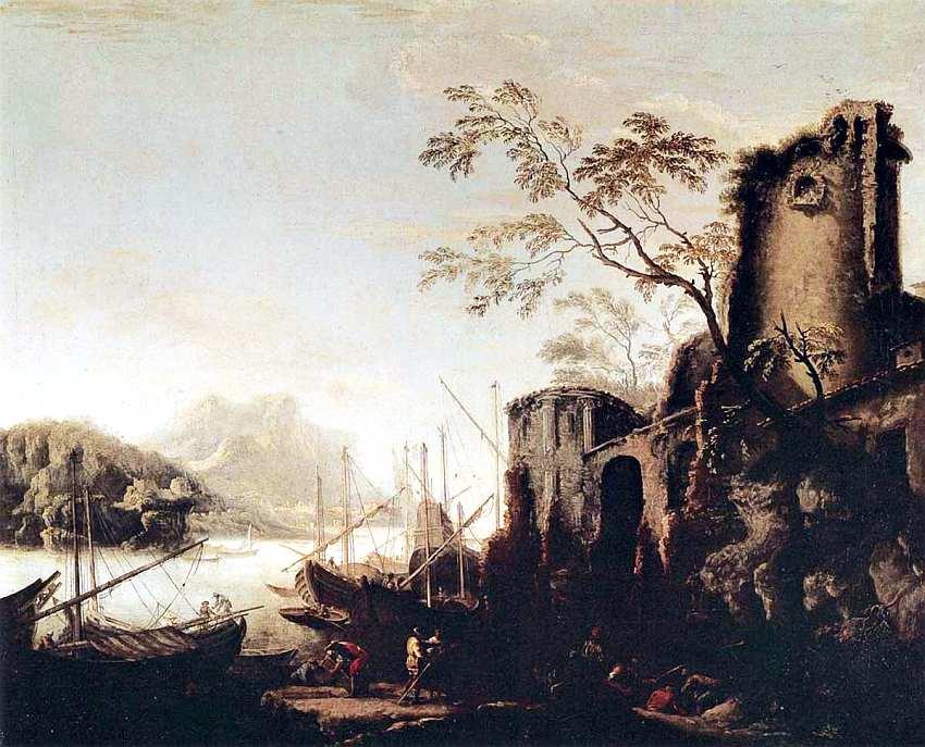 74-Сальватор Роза (1615–1673) Морской пейзаж с судами и руинами. После 1645.jpg