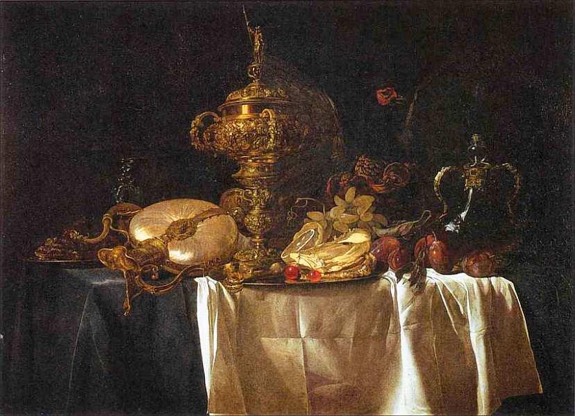 79-Виллем ван Алст (около 1626-около 1683) Натюрморт с фруктами и дорогими сосудами 1653.jpg