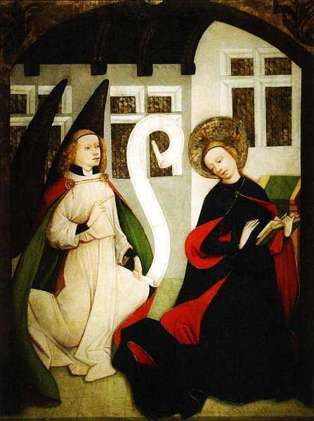 8-Благовещение Боковая панель из церкви Девы Марии, Липтовска Мара, Словакия. Около 1450–1460.jpg