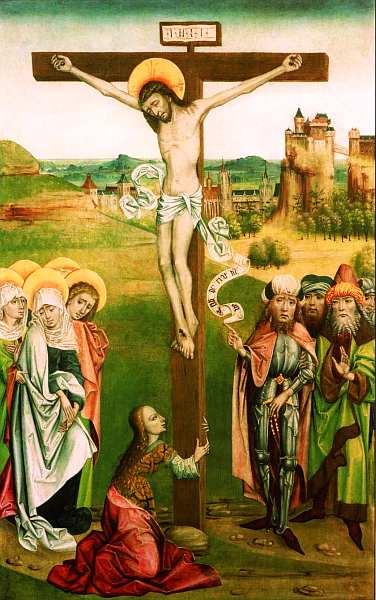 12-Распятие Боковая панель алтаря из церкви Святого Николая, Яношрет, Словакия. Около 1480–1490.jpg