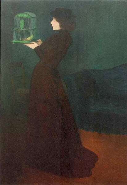 45-Йожеф Рипль-Ронаи (1861–1927) Женщина с птичьей клеткой 1892.jpg