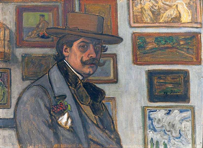 48-Йожеф Рипль-Ронаи (1861–1927) Автопортрет в коричневой шляпе 1897.jpg