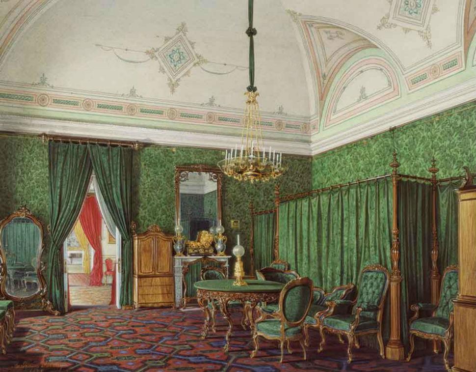 Эдуард Гау - Зимний дворец - зеленая спальня.jpg