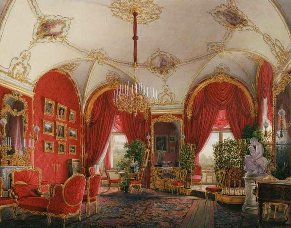 Эдуард Гау - Интерьер Зимнего двореца - угловая комната.jpg