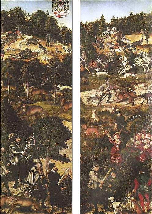14-Лукас Кранах Старший (1472–1553) Охота на оленей и кабанов 1544 (фрагмент4.jpg