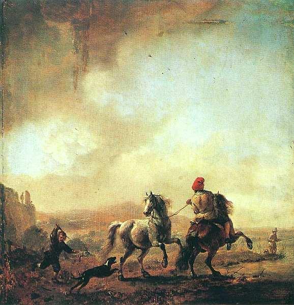 16-Филипс Пауверс Вауверман. Лошадь, испуганная, собакой. 1650.jpg