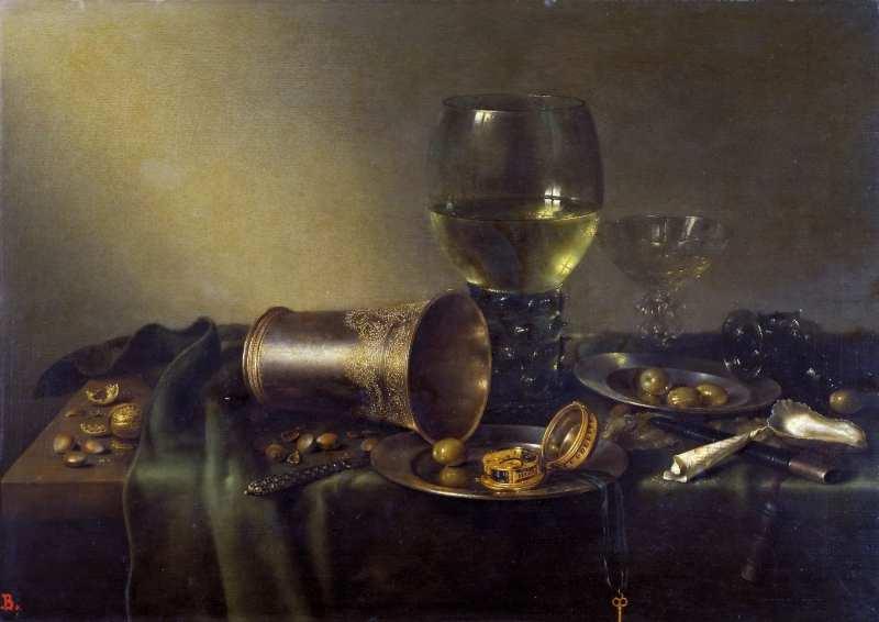 19-Виллем Клас Хеда (1594-между 1680 и 1682) Натюрморт с часами 1657.jpg