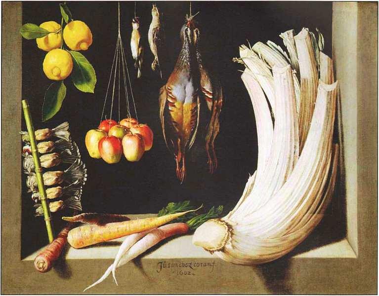 44-Санчес Хуан Котан (15601561-1627) Натюрморт с дичью, овощами и лимонами 1602.jpg