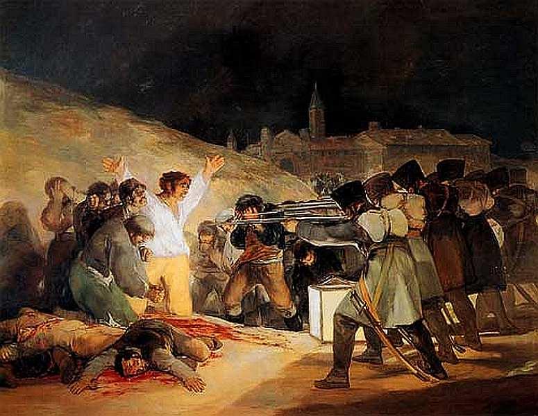 48-Франсиско де Гойя-и-Лусьентес (1746–1828) Расстрел повстанцев 3 мая 1808 года в Мадриде 1814.jpg