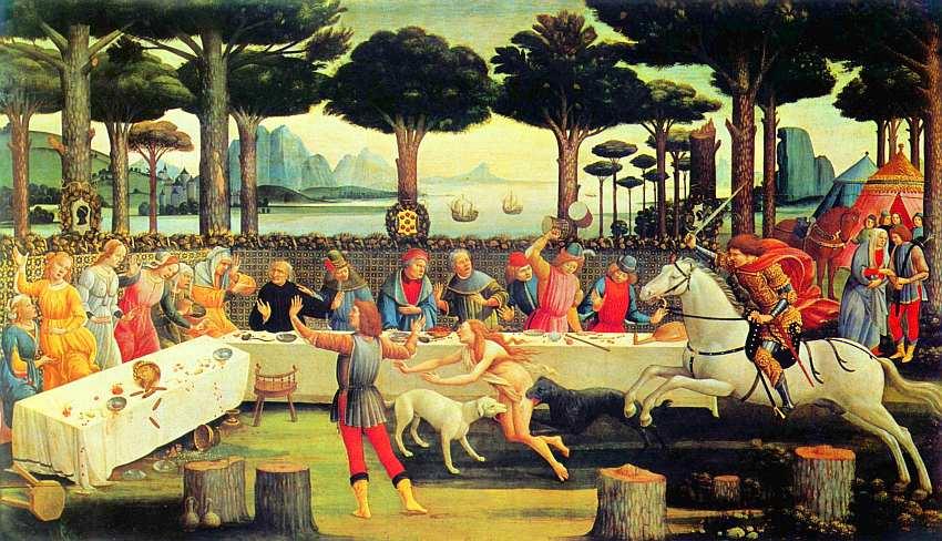 59-Сандро Боттичелли (1445–1510) Серия картин к новеллам «Декамерон». Ужин Настажио у Онисти, III-й эпизод Около 1483.jpg
