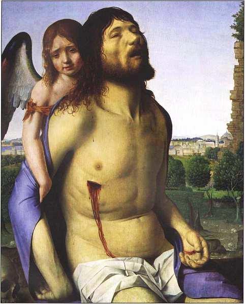 60-Антонелло да Мессина (около 1430–1479) Мертвый Христос, поддерживаемый ангелом 1475–1479.jpg