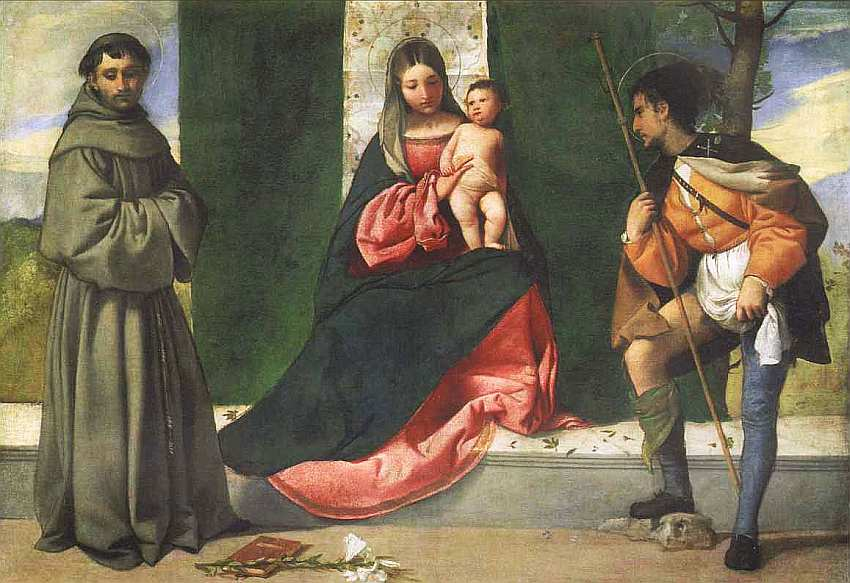 61-Джорджоне (14761477-1510) Мадонна со святыми Антонием Падуанским и Рохом 1500–1510.jpg