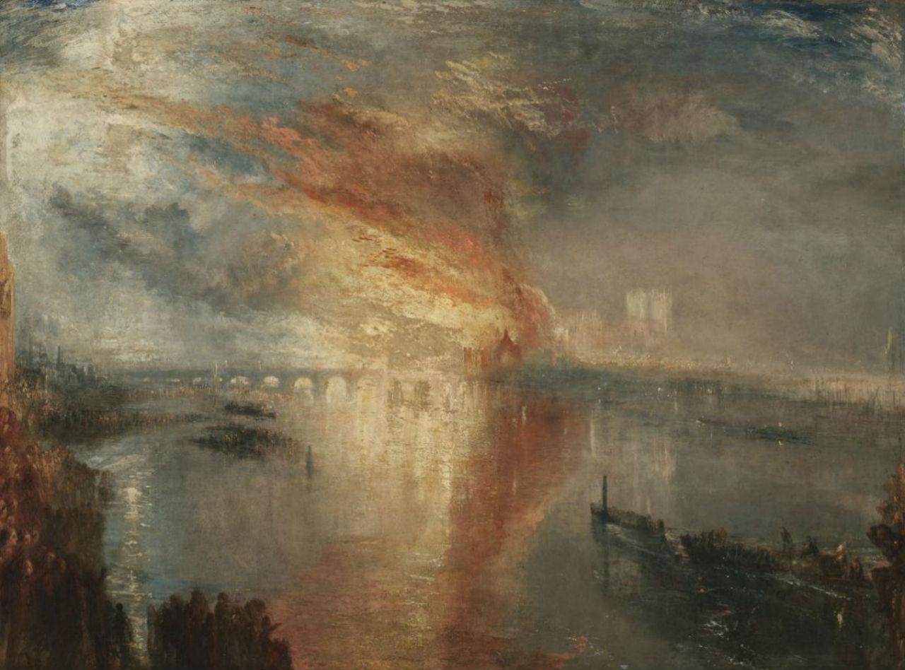 16-Джозеф Мэллорд Уильям Тёрнер - Пожар в здании парламента 16 октября 1834 года - 1835.jpg
