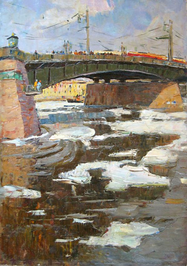 Александр Семёнов (1922-1984) - Ледоход у Литейного моста - 1968.jpg