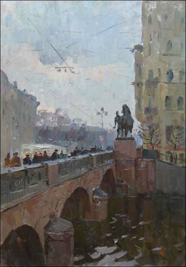 Семёнов Александр Семёнович (1922-1984) - Аничков мост в Ленинграде - 1960.jpg