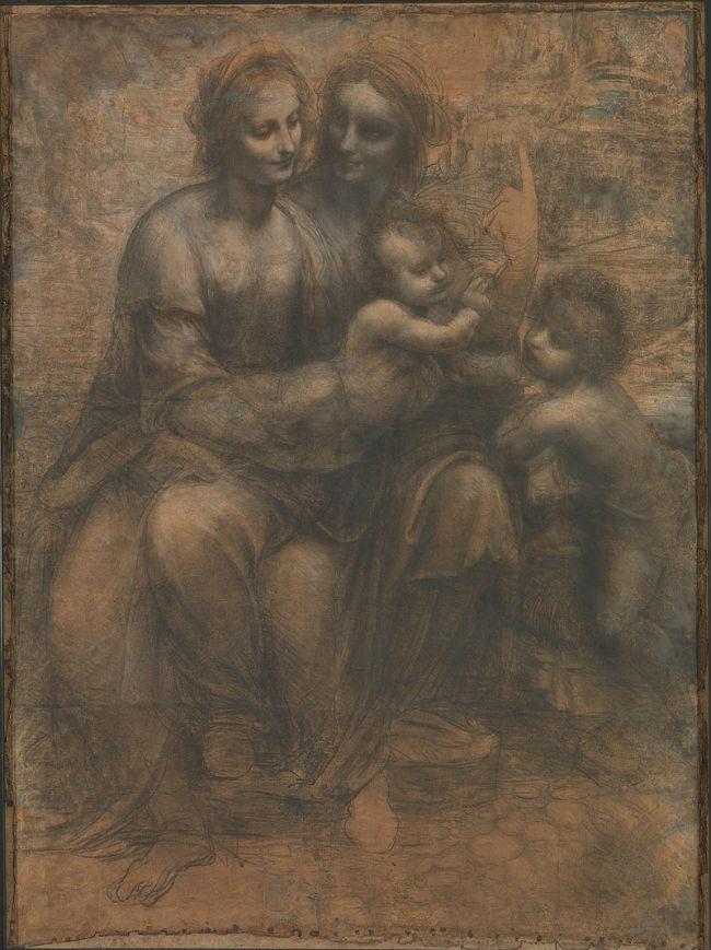 Леонардо да Винчи - Святая Анна с Марией Младенцем и маленьким Иоанном Крестителем - Национальная галерея - Лондон - картон - рисунок углём и пастель…