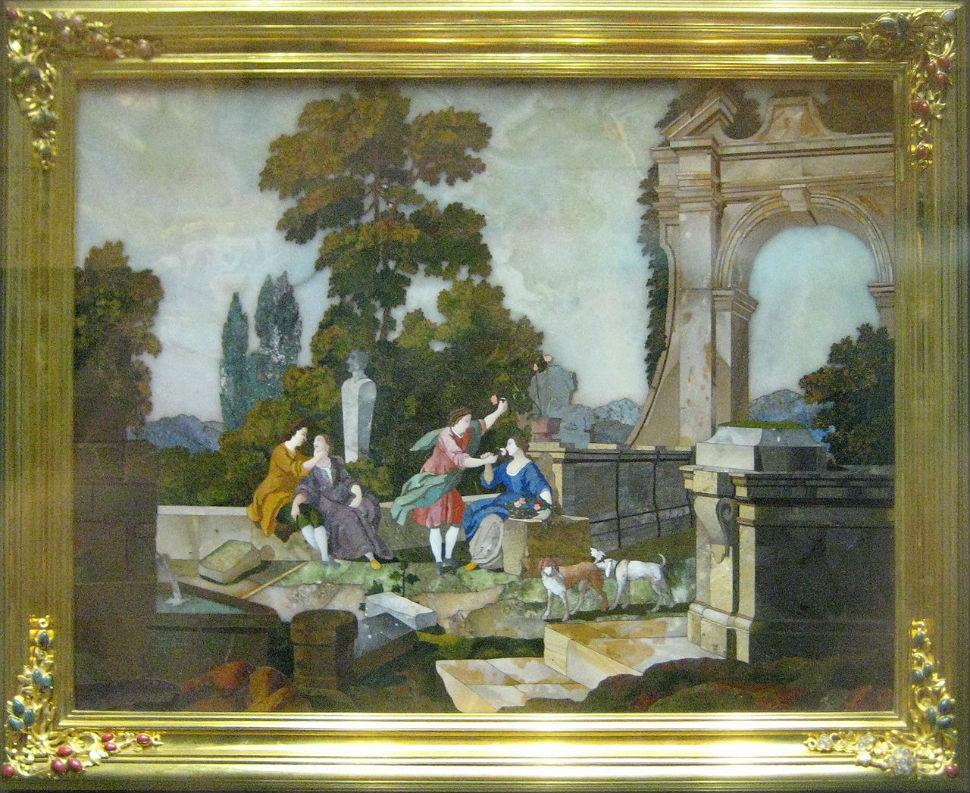 Мозаичная картина Осязание и Обоняние -  Италия - 1751 ( входила в цикл мозаик подаренных Елизавете Петровне императрицей Марией Терезией).JPG