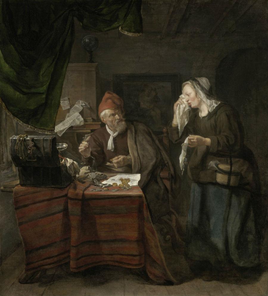 Габриэль Метсю - Плачущая женщина у ростовщика - 1654.jpg