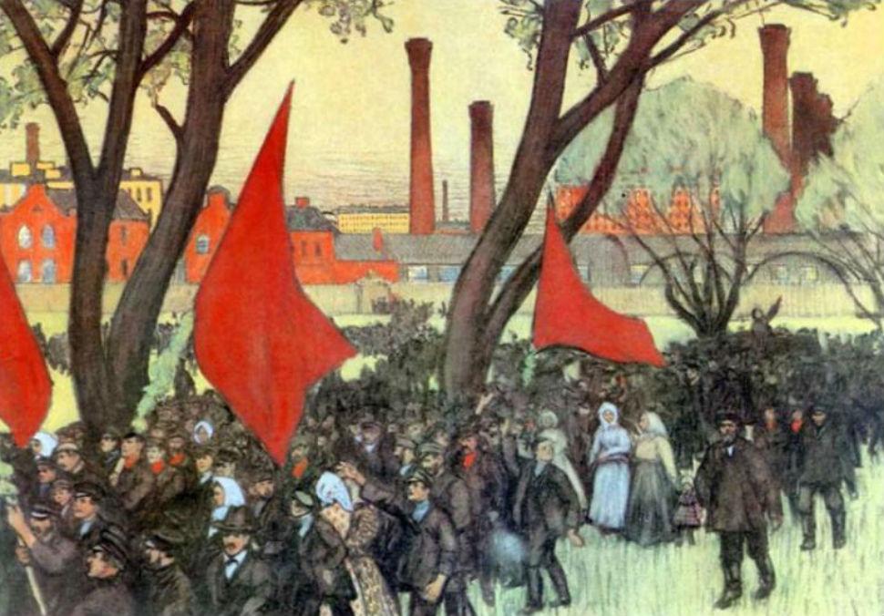 Борис Кустодиев - Первомайская демонстрация у Путиловского завода - 1906.jpg
